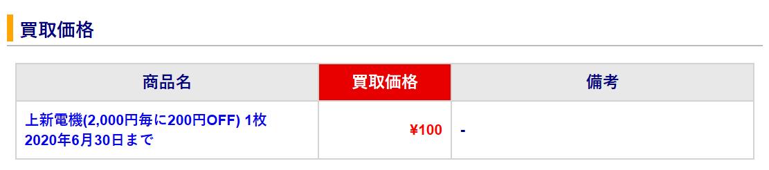 アクセスチケット-上新電機-株主優待-100円買取