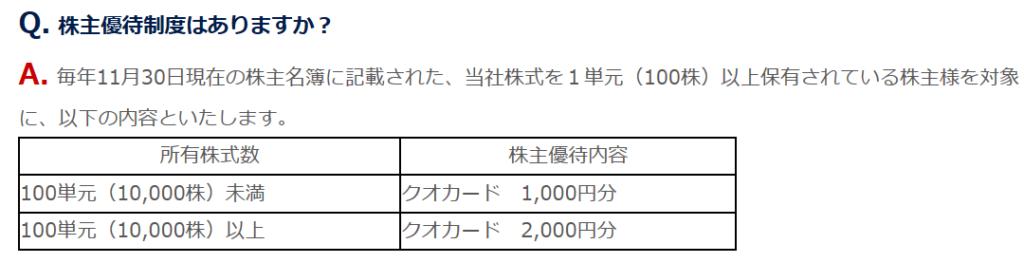 1430-ファーストコーポレーション-株主優待-QUOカード