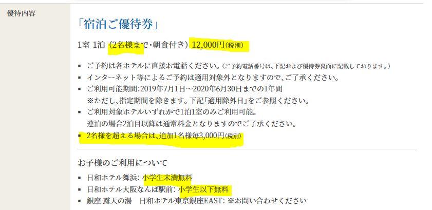 株主優待-12000円分の宿泊優待券2