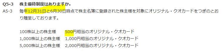株主優待-QUOカード500円×2回