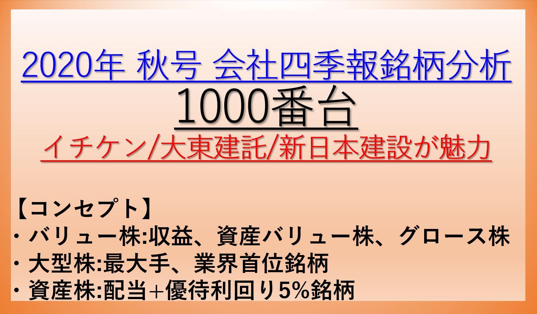 2020年秋号-会社四季報銘柄分析-1000番台