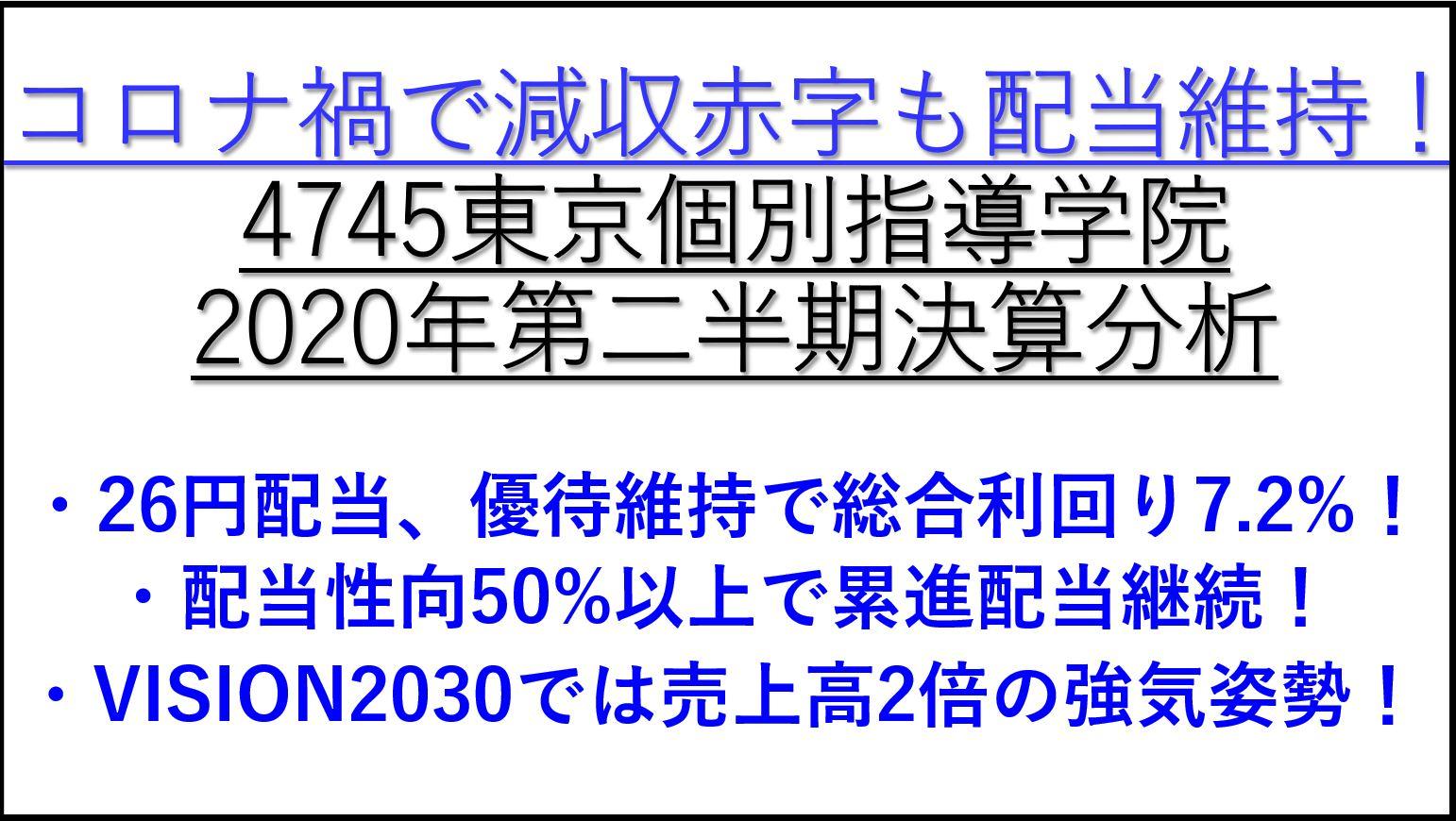 4745東京個別指導学院-決算発表