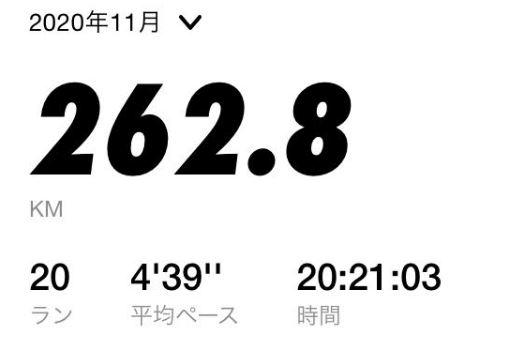 月間走行距離262km-2020年11月