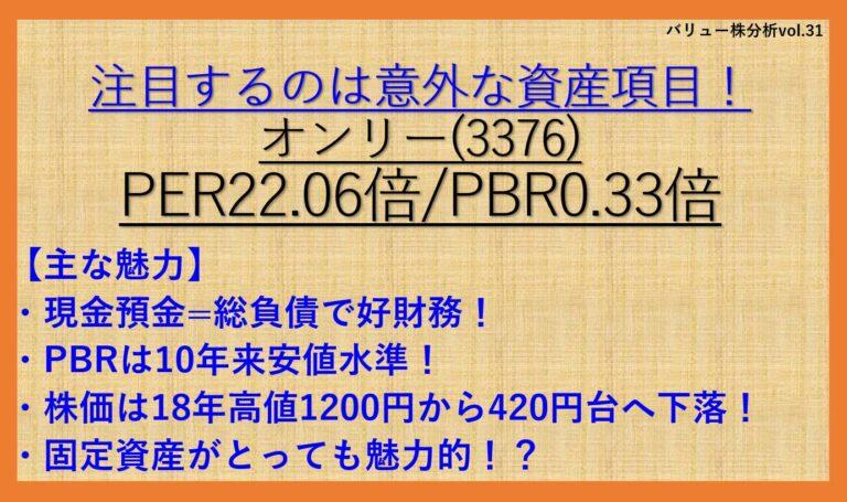 オンリー(3376)-バリュー株