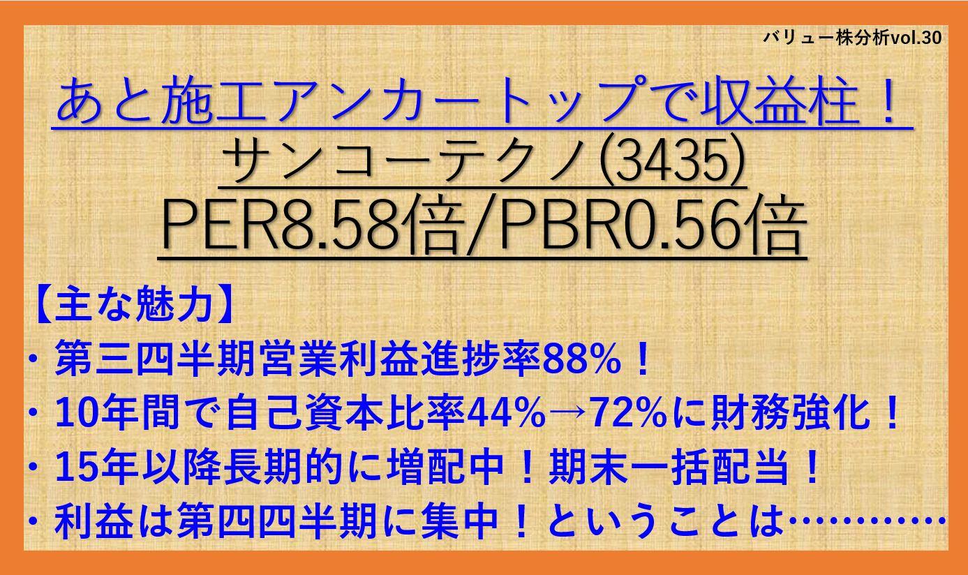 サンコーテクノ-3435-バリュー株