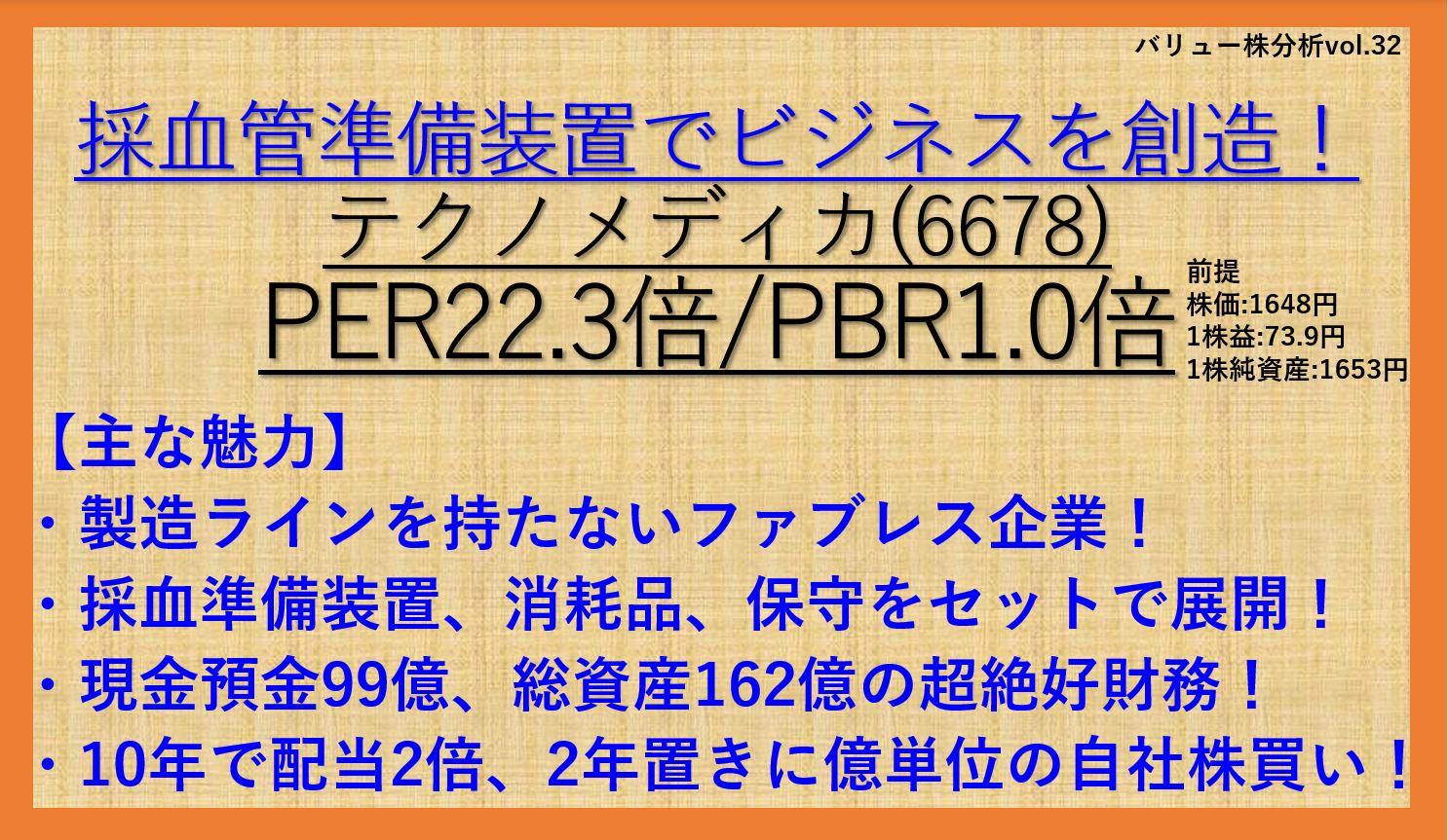 テクノメディカ-6678-バリュー株分析32