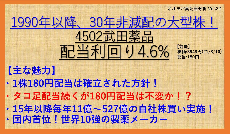30年非減配!-4502-武田薬品-ネオモバ