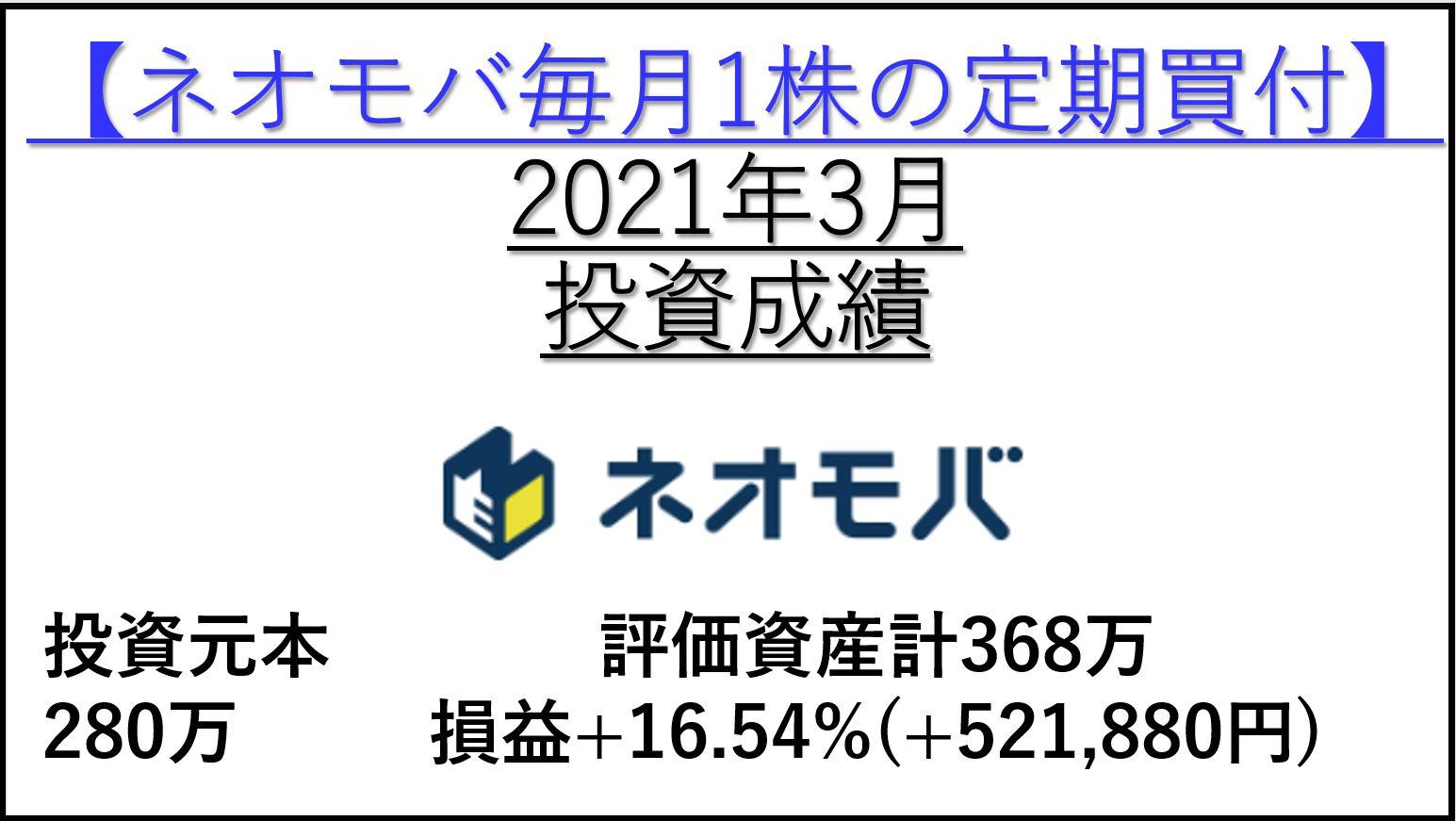 ネオモバ高配当株-2021年3月投資成績