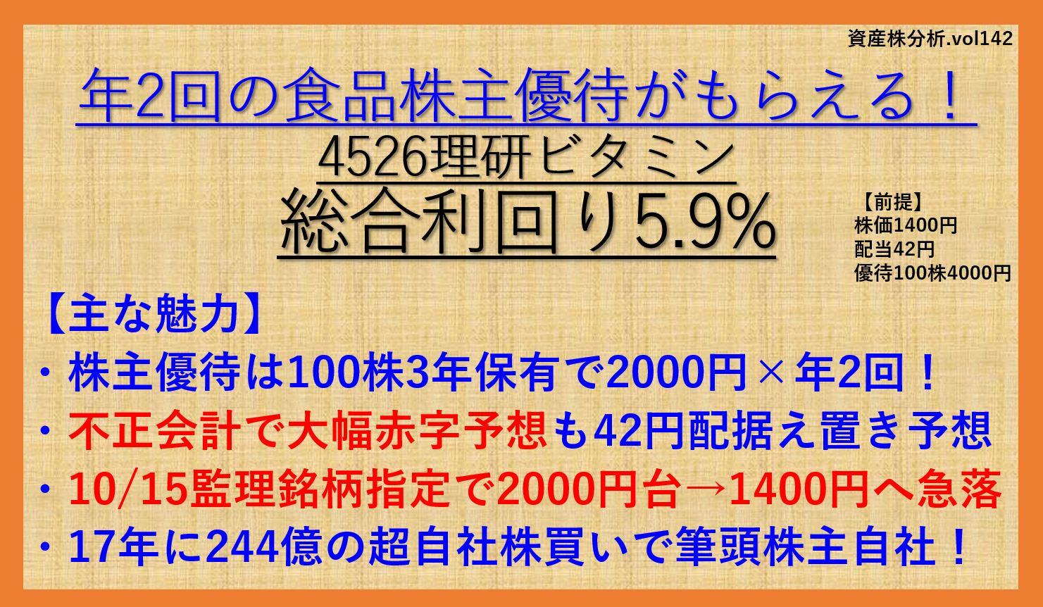 理研ビタミン-4526-資産株