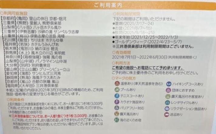 株主優待到着-三井松島ホールディングス-施設優待割引券3.