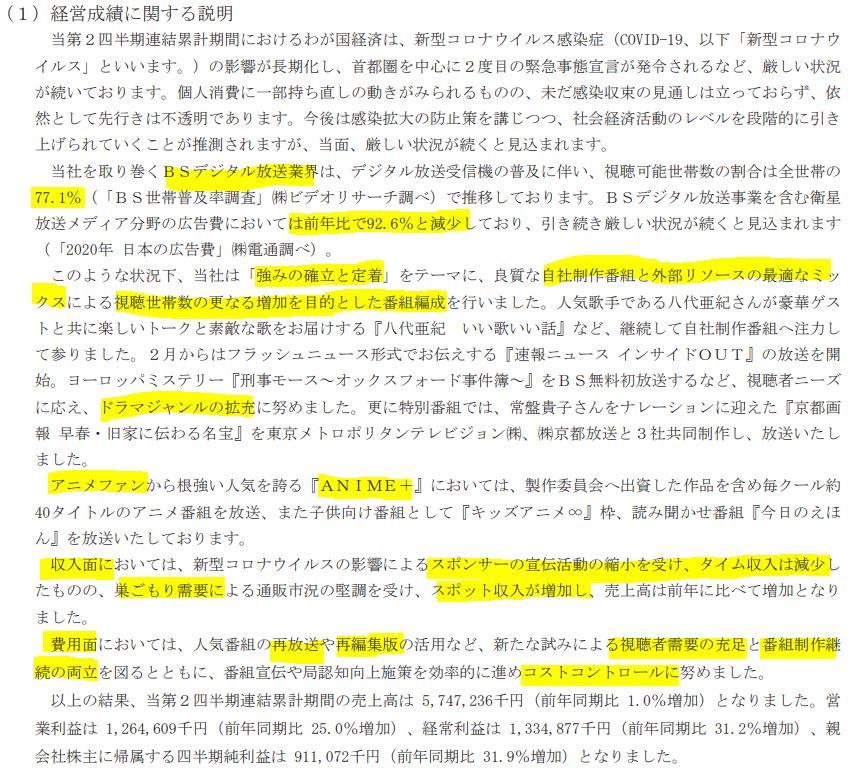 決算分析2.日本BS放送