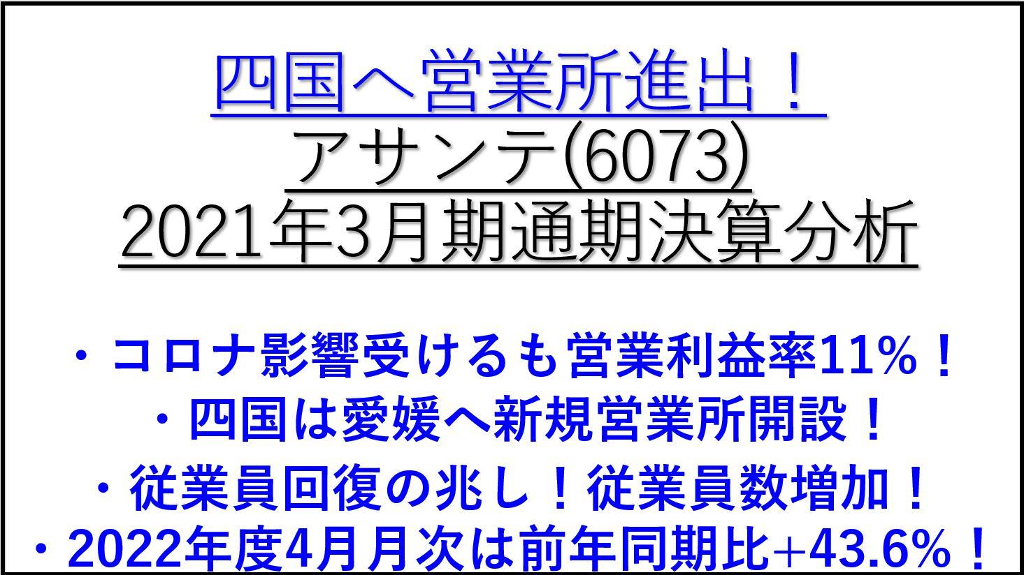 2021年通期決算分析-6073-アサンテ