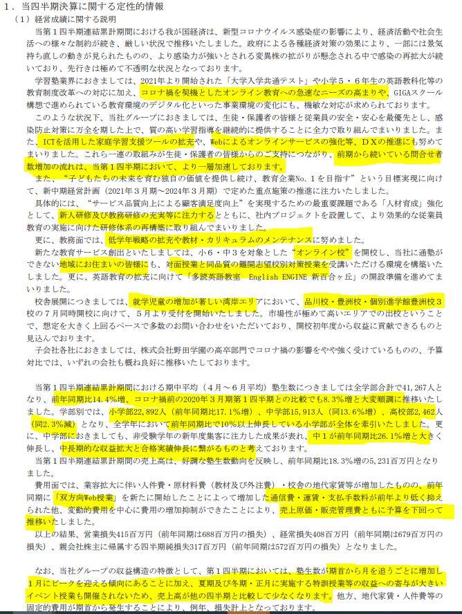 決算分析2.早稲田アカデミー4718